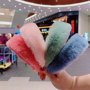 Doce Mulheres Retro Elegante Coelho Bandas Fur Headbands Hairbands Cabelo Vintage acessórios para o cabelo Winter Party Jóias Presente de Natal Headband