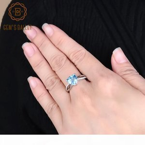 Gem's Ballet 925 Sterling Silver Vintage Cocktail Rings 3.08Ct Natural Sky Blue Topaz Gemstone Ring For Women Fine Jewelry