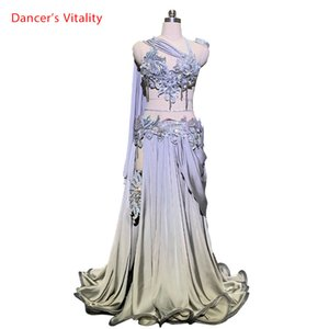 Customized Belly Dance Ribbon Bra Applique Skirt Women Oriental Drum Dance Competition Performance Costume Stage We