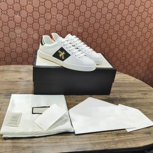 Toptan Moda Kadın Adam Tasarımcı Ayakkabı Dantel-Up Düz Ayakkabı Arı Tiger Yılan İşlemeli Bayan Sneake Erkek Kız Ayakkabı Beyaz Rahat Ayakkabılar