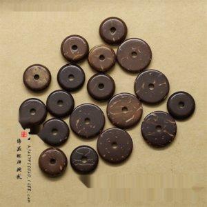OrFxF coco color natural de bricolaje Buda partición de la cáscara de coco granos de los accesorios DIY de la estrella de la luna King Kong 108 Buda granos de los accesorios