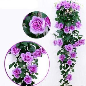 Искусственные шелковые розы ротанга поддельные розовые стены висит гирлянда лоза свадьба дома декоративные цветы струны сад висит гирлянда hwf3357