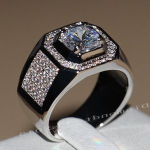 2020 New Arrival Men Fashion Jewelry 10KT White Gold Filled Round Cut CZ Zirconia Simulated stones Wedding Band Ring SZ8-13