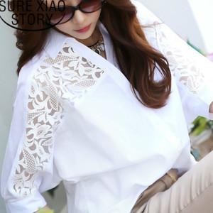 womens tops and blouses women blouses shirt plus size women tops Middle long white cotton linen lace shirt bat sleeve 2589 50 200925