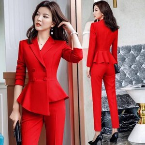 Rebicoo Red Blazer Two Piece Suits Women Set Casual Double Breasted Slim Long Sleeve Host Formal Work Blazer Suits Femme Kimono