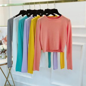 Autumn Knitted Solid Thin Sweater Shirts Girls O Neck Full Sleeve Cropped Sweater Pullover Crop Top For Female