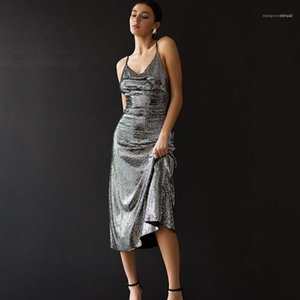 Designer roupas Womens Club Estilo Midi Vestidos Sexy V-Neck Backless moda vestido cor natural sem mangas Vestidos Womens
