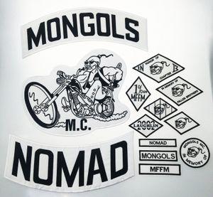 De calidad superior MONGOLES NOMAD MC motorista chaleco bordado Parche 1% MFFM en la memoria hierro en completa espalda de la chaqueta de Motorcyle de envío libre de parche 4xFW #