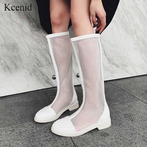 Kcenid 2020 Spring fashion mesh pumps dress shoes women knee high boots white black motorycle boots low heels party dance shoes