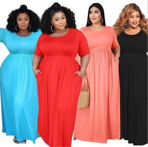 Artı boyutu Kadınlar kısa kollu maksi etekler 3701 clubwear yaz giyim gündelik düz renk elbise BODYCON elbise ücretsiz gemi XL-5XL seksi giyiniyor
