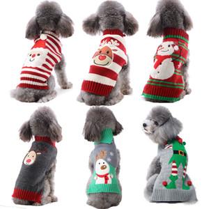 Traje a rayas sudaderas con capucha perro de Navidad del reno del suéter del animal doméstico ropa de punto Perros del muñeco de nieve de la Pequeña y Mediana Perros DOGGYZSTYLE Y200922
