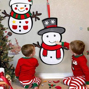 DIY Felt Snowman,Christmas Game Set with Detachable Ornaments, Xmas Wall Hanging Gifts for Kids Christmas Decorations,Set of 2 P