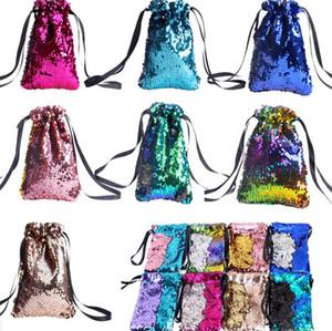 Mermaid Scales Holder Paillettes lacci Bag Phone Pouch Key Card di colore inverso Modifica paillettes borse Totes Portamonete chiave Pocket E9105