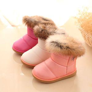 Winter Boys Snow Boot Kids PU Leather Thicken Plush simulation rabbit fur Girls Ankle Boots Fashion Korean version Children Shoes Z1411