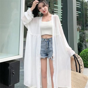 Chiffon Loose Vacation Beach Style Sun Protection Clothing Coat Women Summer Thin Cardigan Trumpet Sleeve Long Outerwear Female
