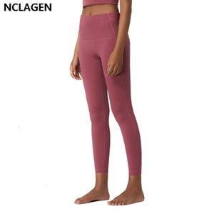 pantalons de yoga avec des poches gym leggings fitness femmes taille haute à deux côtés Sport Workout sport Squat Proof Collants NCLAGEN Y200904