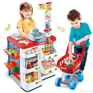 Simulation Supermarket House Role Shopping Cart Kits Girl Pretend Play House Market Toys Counter Cash Register Learning Toy