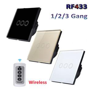 EU / UK standard 1/2/3 Gang RF433 Télécommande interrupteur mural, de communication sans fil de lumière Commutateurs, panneau de verre tactile Commutateur AC 110V-220V