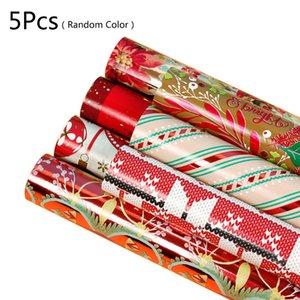 5 листов Рождество оберточной бумаги Упаковка подарков Present Box Упаковка из алюминиевой фольги Wrap украшения
