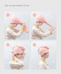 Shower Caps Magic Quick Dry Hair Towel Solid Drying Turban Dry Hair Hat Cap Turban Head Wrap Absorbent Towel Bathroom Caps