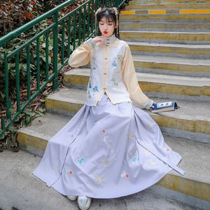 XkOUS 6832 spring new zhang xiu qun zhang xiu qun Manicure long sleeve skirt fresh and improved Hanfu embroidery Daily Nail vest long-sleeve