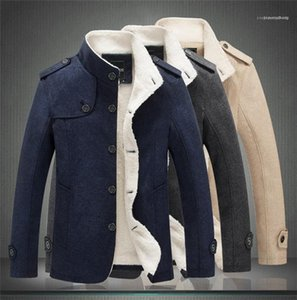 Mens Winter Stand Collar Jacket Keep Warm And Thick Fashion Single Breasted Slim Fit Casual Coats Male Solid Color Jacket