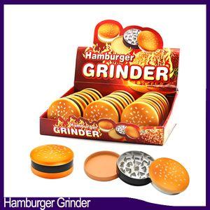 햄버거 그라인더 45mm 3 개 부품 새로운 스타일의 아연 합금 금속 재료 담배 분쇄기 연기 담배 드라이 허브 그라인더