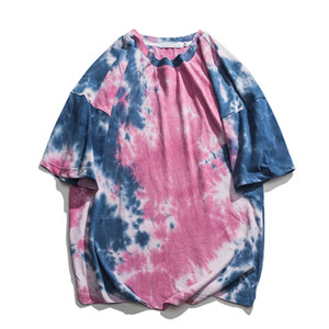 Unisex Tie Dye allentati della maglietta Mens 2020 Estate girocollo Streetwear Hipster T-shirt manica corta 100% cotone T-shirt 6-colori