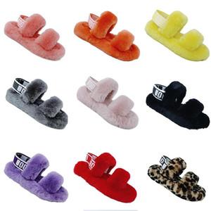 Nuevas cuñas pelusa pelusa oh sí diapositivas zapatillas sandalias de piel con zapatos de mujer peludos mullidas zapatillas elástica plataforma zapatillas de unión pantouf E1B3 #