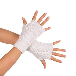 Women Stylish Hand Warmer Winter Gloves Arm Crochet Knitting Faux Wool Mitten Warm Fingerless Glove Femme 7.10