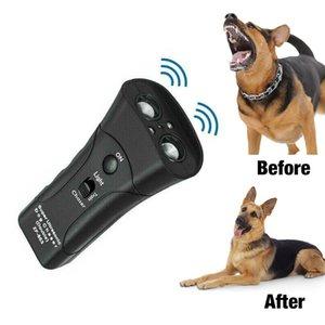 Entrenamiento del perro de mano Perro Repelente ultrasónico de infrarrojos perro de disuasión tapón de la corteza buen comportamiento ataques de animales dispositivo repelente de linterna