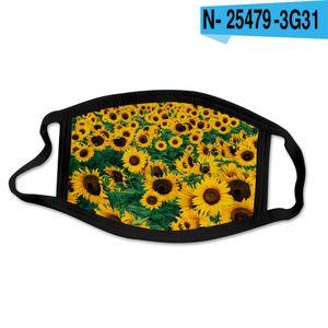 24style Sunflower Mask 3D Digital Gesichtsmasken Drucken elastische Gewebe-Tuch-Mund-Maske Wiederverwendbare Anti Haze staubdichte Abdeckung Mascarilla GGA3688-1