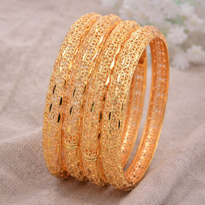 24K 4pcs / lot Dubai Hindistan Etiyopya Sarı Katı Altın dolu güzel Bilezik İçin Kadınlar kızlar parti takı BanglesBracelet hediyeler