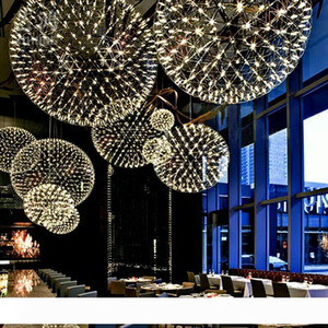 acero inoxidable bola chispa lámpara llevado luminosa moderna minimalista restaurante estrellado Estrella brillar bola de araña de la lámpara redonda