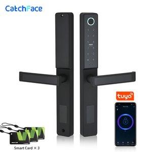 Водонепроницаемый Keyless Wifi отпечатков пальцев Цифровой Push Pull отпечатков пальцев Смарт Замок двери для стекла Раздвижные или деревянные дома двери