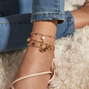 Leg chaîne Pieds Pied Bijoux Femmes Accessoires Chaussures Pendentif en alliage papillon Anklet Bracelets de cheville Para tobillo Pulsera de cheville