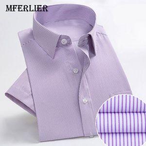 MFERLIER Summer shirts men Shoulder 44-51cm Loose men shirts cotton short sleeve 10 colors