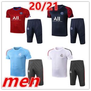 2020 2021 Novos Mens Real Madrid Tracksuits Treinamento de Futebol Terno de Manga Curta 3/4 Calças Kits de Futebol 20 21 Camisa de Futebol de Perigo Tracksuit