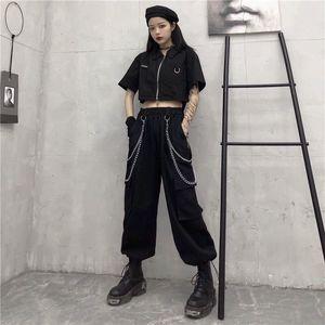 Tracksuit ropa de mujer Suit female summer version short-sleeved shirt high waist slimming sports hip-hop two piece set women