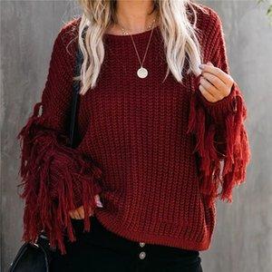Женской дизайнер Лоскутной кисточка свитер O-образный вырез Сплошного цвета Мода осень зима Сыпучая Одежда женской повседневный вязаный свитер