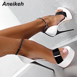 Aneikeh Big Schuhgröße 41 42 43 44 45 46 16cm Absatz-Sandelholz-Sommer-reizvolle geöffnete Zehe-Partei-Kleid-Plattform-Gladiator-Frauen-Schuhe