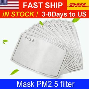 PM 2.5 Filtro cojín para la máscara de niños para adultos anti Haze máscara no tejido del cojín reemplazable Filtro cortes 5Layers filtro de carbón activo de la mascarilla de juntas