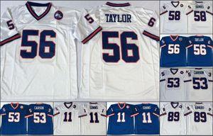 NCAA Vintage football cucito mens jersys 89 Mark Bavaro 58 Carl Banks 56 Lawrence Taylor 53 Harry Carson 11 Phil Simms Blu bianco