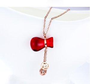 Collier en acier de titane rouge apporte Gourd Fortune Clavicule chaîne en or rose Couleur durable Clavicule Cadeaux de chaîne pour Girlfriend Mère
