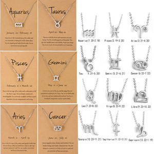 Men Women 12 Horoscope Zodiac Sign Gold Pendant Necklace Aries Leo 12 Constellations Jewelry Kids Christmas