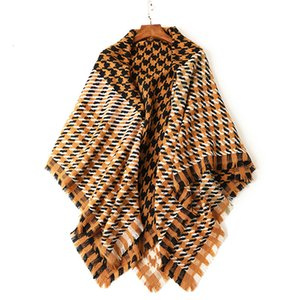 Season Keep Warm Khaki 140cm*140cm Wool Scarf Plover Grid Will Kerchief Scarf Ma'am Shawl Dual Purpose