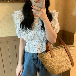 Summer Shirt For Women 2020 Fashion Flower Floral Slim Waist All-Match High Quality Retro Female Blouse Wear Both Sides