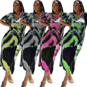 Платья V Neck высокой талией Сыпучие с коротким рукавом Повседневные платья Лоскутная Contrast Color Maxi Платья Tie Dye цветочный летний женский дизайнер