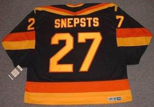 Uomini Donne gioventù Harold Snepsts Vancouver Canucks 1989 CCM Vintage Lontano hokey Jersey portiere taglio cucito di altissima qualità qualsiasi nome qualsiasi numero