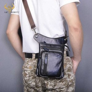 Genuine Real Leather Design Men Cross Body Satchel Bag Fashion Organizer Fanny Waist Belt Pack Drop Leg Bag Tablet Case 211 11 Best Ha 6SCb#